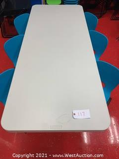 "Lifetime Adjustable Height Table, 72 x 30 x 24-34""Height, Almond Table and (6) Blue Toddler Chairs"