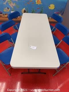 "Lifetime Adjustable Height Table, 72 x 30 x 24-34""Height and (6) Hercules Series Premium Blue Chairs"