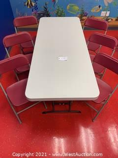 """Lifetime Adjustable Height Table, 72 x 30 x 24-34"""" Height Table and (6) Hercules Series Premium Folding Chairs"""