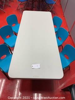 """Lifetime Adjustable Height Table, 72 x 30 x 24-34"""" Height, Almond Table and (6) Blue Toddler Chairs"""