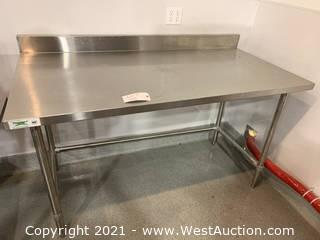 """NSF Steel Table 30"""" x 60"""" 16-Gauge 304 Stainless Steel Commercial Open Base Work Table with 4"""" Backsplash"""