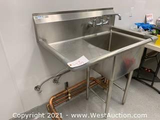 """GSW Prep Sink Left Drainboard NSF  18"""" x18"""" sink"""