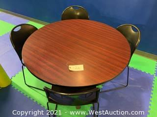 "Wood Round 48"" Table and (4) Sliding Chairs"