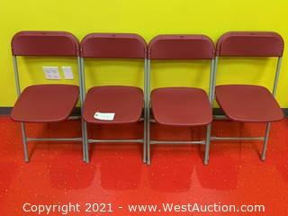 (4) Hercules Series Premium Red Plastic Folding Stackable Chairs