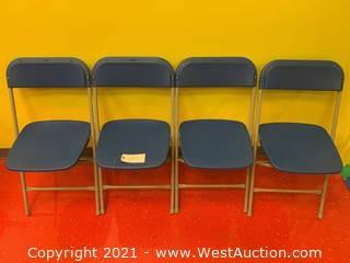 (4) Hercules Series Premium Blue Plastic Folding Stackable Chairs