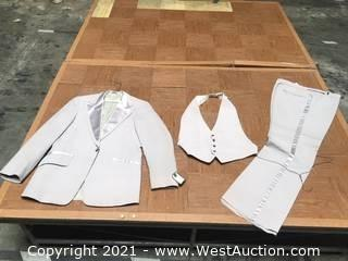 Tuxedos: Lord West Dove Grey Polyester Formal Wear with Satin Trims