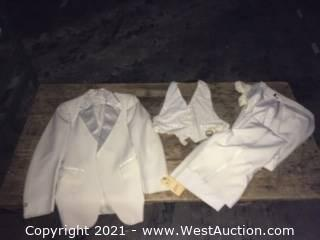 Tuxedos: Crystal Brand White Polyester Formal Wear with Satin Trims