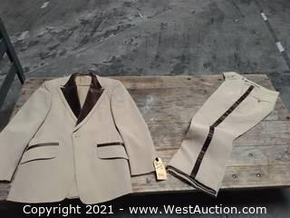 Tuxedos: Lord West Tan Polyester Formal Wear with Chocolate Satin Trims