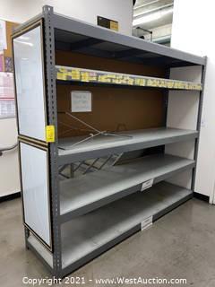 4-Shelf 7'x8' Storage Rack, (2) Dry Erase Boards, (1) Corkboard