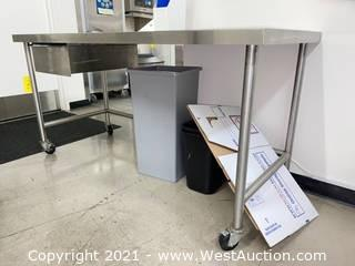 6' Stainless Steel  Rolling Table with Drawer, Includes Trash Bins