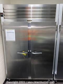 "Traulsen G20010 Traulsen G20010 52"" G Series 2-Section Solid Door Reach-in Commercial Refrigerator"