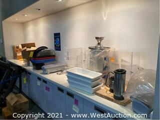 Contents of Tabletop; Pastry Cases, Film/Foil Dispensers, Ceramic Dishes and More