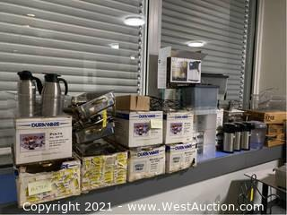 Counter Contents: Buffet Warmers, Chafing Dishes, Airpots, Drink Dispensers, Glassware
