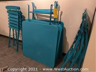 Teal Outdoor Patio Set; (4) Tables (6) Chairs