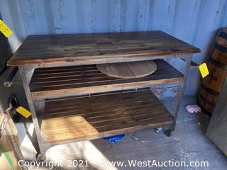 """50"""" Wood and Metal 3 Level Cart with Caster Wheels"""