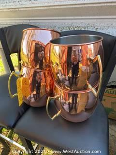 (4) Moscow Mule Copper Colored Mugs