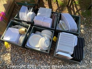 (6) Crates Of Plates And Dishes