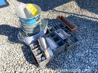 Bulk Lot: Metal Bins, Carriers with Salt And Pepper Shakers and More