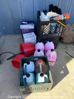 Bulk Lot: Cleaning Supplies and Crates