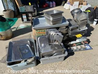 Bulk Lot: Stainless Steel Lids, Trays, and Pans
