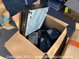 Box of Point of Sale Cash boxes, Receipt Printers, and More
