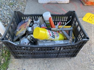 Crate with Moving Dolly's, Caulking Guns, and More