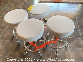 (4) White Leather Rolling Stools