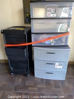 (2) Sterilite 3-drawer Bins & Barber Caddy
