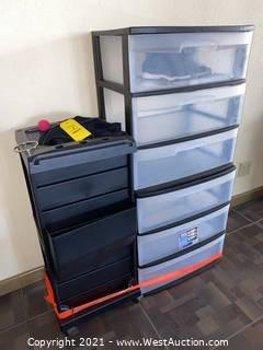 (2) Sterilite 3-drawer Bins & Barber Cart