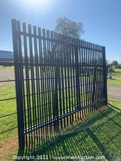 Set of 2 Black Rod Iron Fence Panels 150' H x 94' W