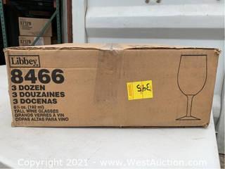 (1) Box Of (36) 6.5oz Tall Wine Glasses (8466)