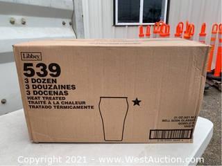 (1) Box Of (36) 21oz Bell Soda Glasses (539)