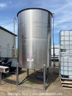 J. Manheimer Food Grade 1,500 Gallon Stainless Steel Tank