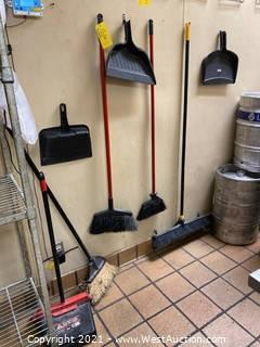 (4) Brooms and (4) Dust Pans