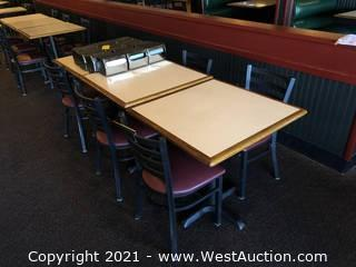 (3) Wood Top Tables And (6) Metal Chairs