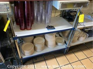 Rack And Contents; Ceramic And Plastic Dishware