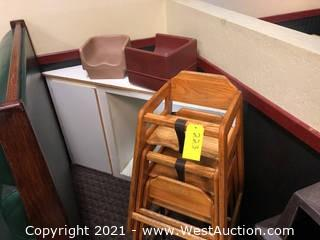 (3) High Chairs And (2) Booster Seats