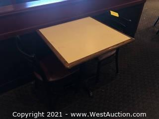 Wood Top Table And (2) Metal Chairs