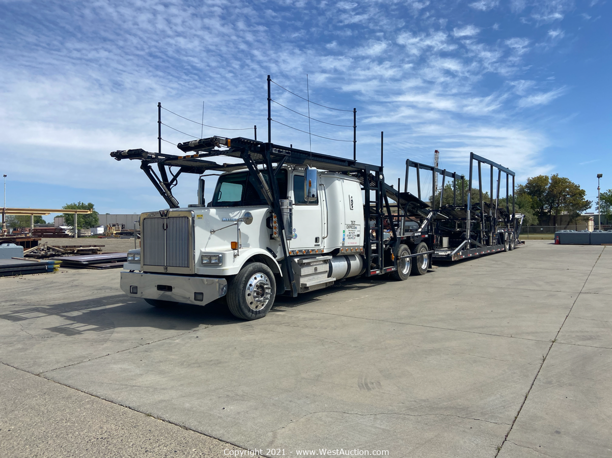 Online Bankruptcy Auction of 2013 Western Star W4900SF Diesel Car Carrier with Car Trailer