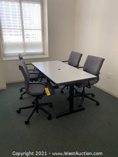 Contents Of Office; 5' Table And (4) Upholstered Desk Chairs