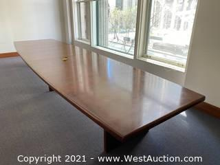 5' Wood Conference Table and 6' Wood Credenza