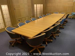 Large Conference Table And (18) Chairs