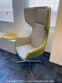 Tall Contemporary Wingback Chair on Metal Base