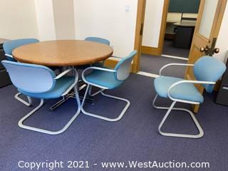 Table & (5) Office Chairs