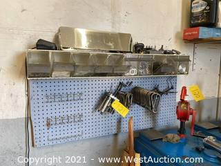 Pegboard Organizer And Contents; Carabiner Clips, Nuts, Springs