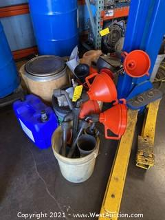 Bulk Lot Of Buckets And Funnels