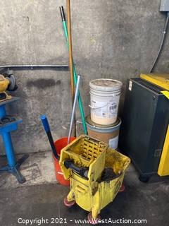 Mop Bucket, Push Broom, Concrete Floor Cleaner, Brushes