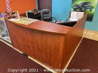 Wood Reception L-Shape Desk With Chair and Contents