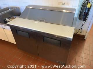 True Stainless Steel Refrigerated 2-Door Prep Table