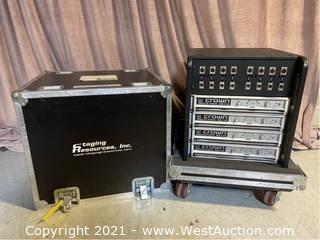 (4) Crown Macro-Tech 36x12 Amplifiers In Road Case , Wood Rack, Custom Connector Panel